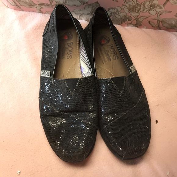 BOBS Shoes   Black Glitter Shoe Size 7